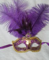 Purple and Gold Tall Feather Mask